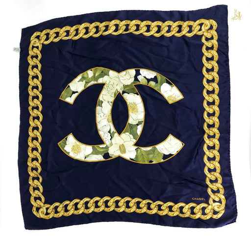 CHANEL Blue Silk Floral Chain CC Scarf