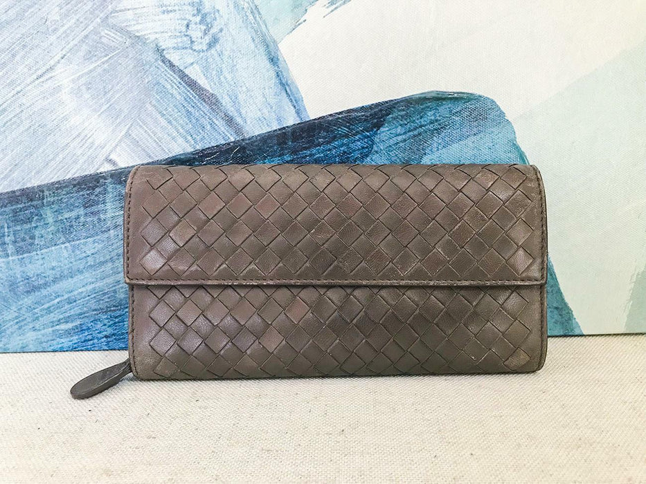$460 BOTTEGA VENETA Grey Intrecciato Woven Leather Wallet Flap Snap Zip Around
