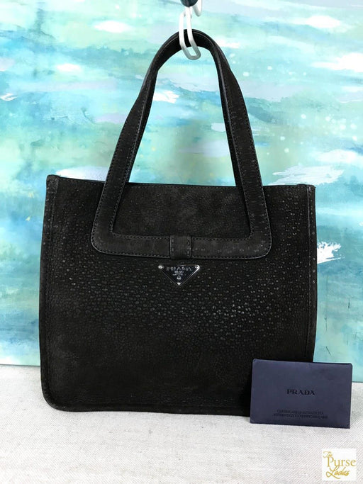 658ad42a8043 $945 PRADA Brown Suede Leather Tote Shoulder Bag Front Bow Snap Silver HW  SALE!