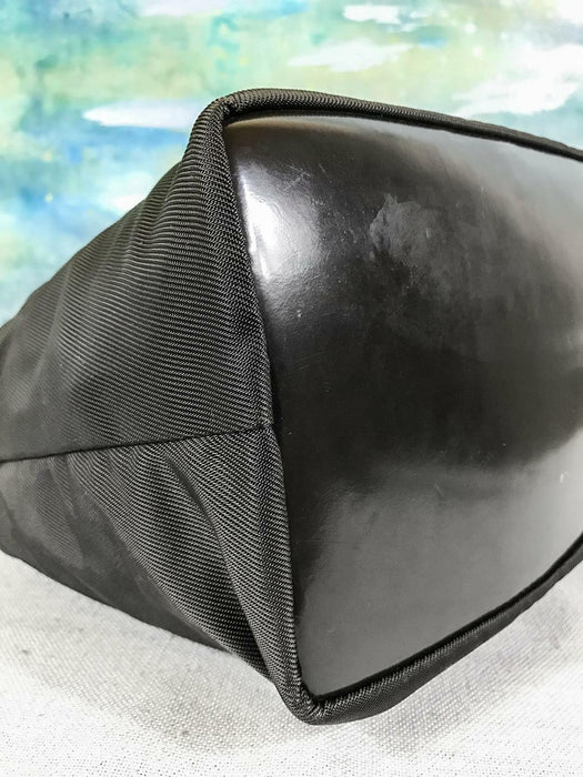 $800 GUCCI Brown Nylon Hobo Shoulder Bag Leather Trim Bamboo Handle Silver SALE!