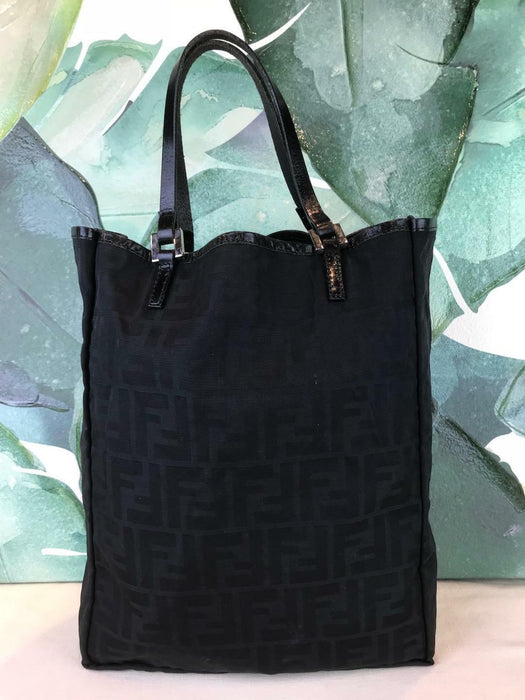 $750 FENDI Black Zucca Canvas Tote Shoulder Bag Leather Trim Pouch Silver SALE!