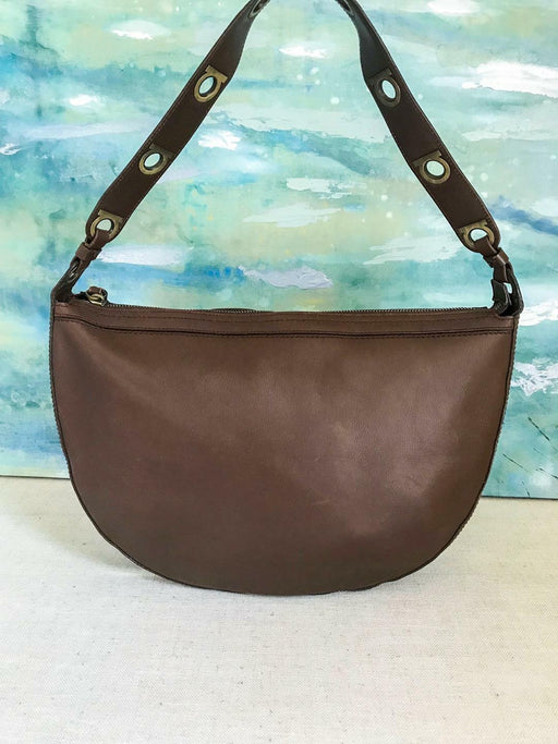 $1050 SALVATORE FERRAGAMO Brown Leather Shoulder Bag Hobo Gancini Zipper SALE!