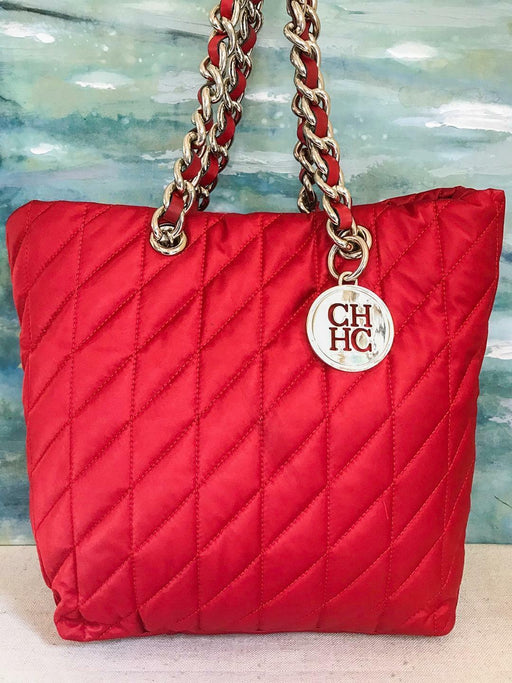 $615 CAROLINA HERRERA Red Quilted Nylon Silver Chain Tote Bag Logo Charm SALE!
