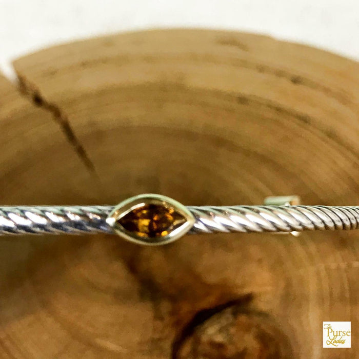 $950 DAVID YURMAN Confetti Yellow Citrine Three Station Silver Bangle Bracelet