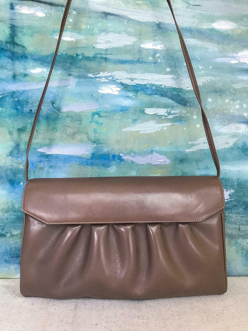 GUCCI Vintage Taupe Pleated Leather Flap Shoulder Bag Clutch