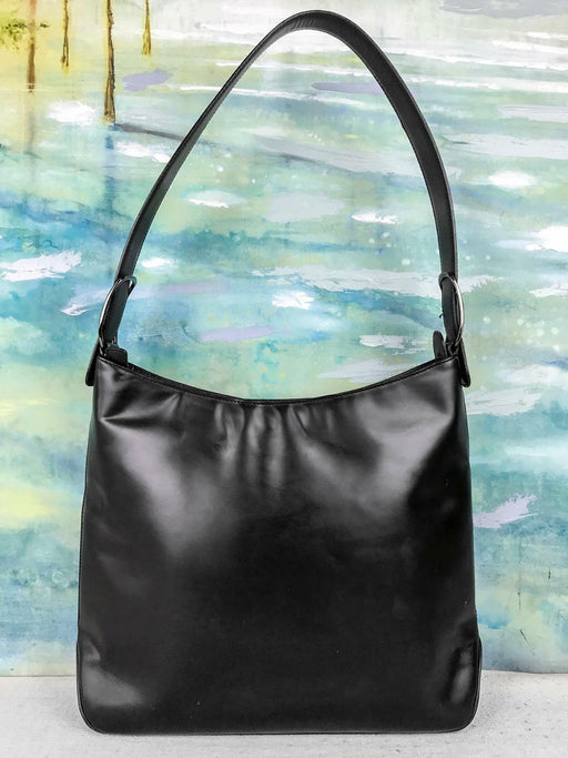 $1150 SALVATORE FERRAGAMO Matte Black Leather Hobo Shoulder Bag Zipper SALE! EUC
