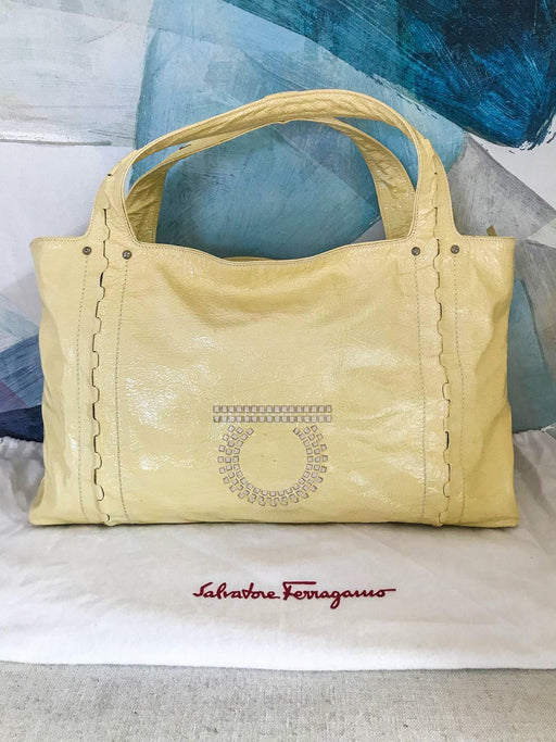 $1,250 SALVATORE FERRAGAMO Patent Leather Cream Yellow Tote Large Shoulder Bag