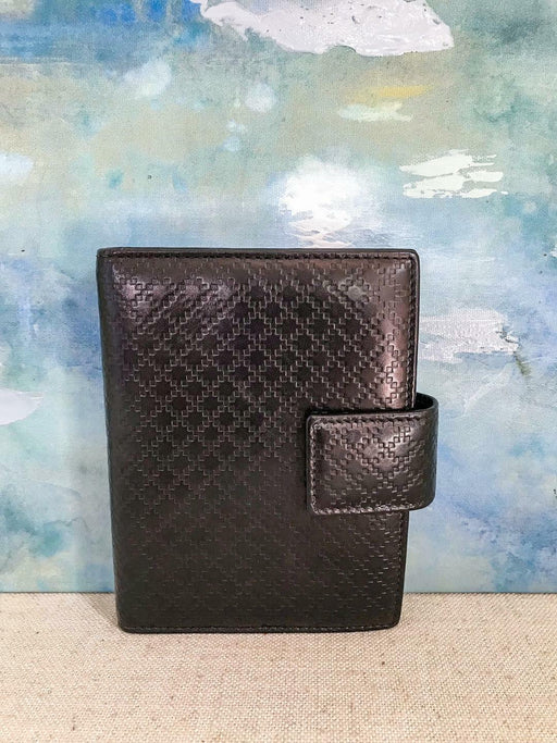 GUCCI Brown Diamante Web Leather Snap Small Agenda Address Book Cover on SALE!