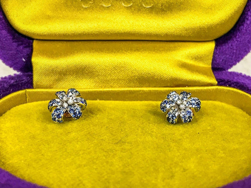 $3200 GUCCI Flora 750 18k Rose Gold Sapphires & Diamonds Pierced Stud Earrings