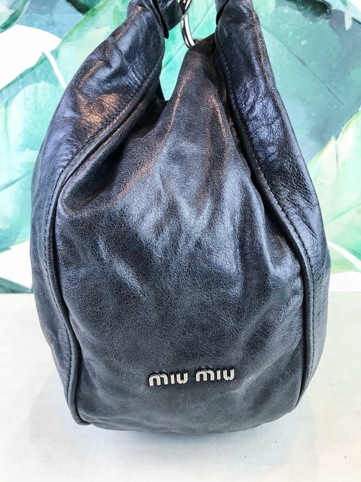 $1290 MIU MIU Gray Glazed Leather Hobo Shoulder Bag Large Snap Silver HW SALE!