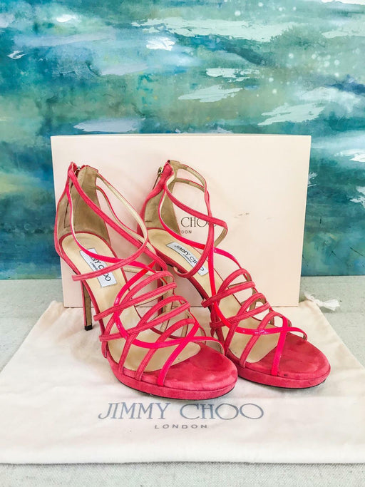 $895 JIMMY CHOO Pink Suede Patent Leather Mandie Sandals Heels Woman's Sz 41