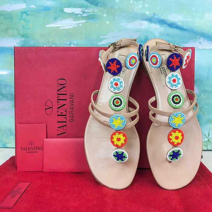 $1345 VALENTINO Beige Leather Beaded Medallion Thong Ankle Strap Sandals SZ 36