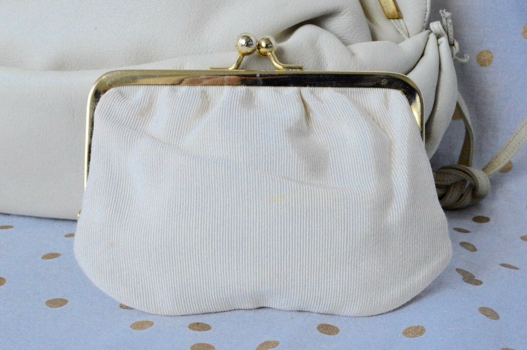 JUDITH LEIBER Ivory Leather Gold Clutch Evening Bag Women's Purse