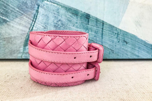 BOTTEGA VENETA Pink Intrecciato Woven Leather Double Wrap Buckle Bracelet SALE!