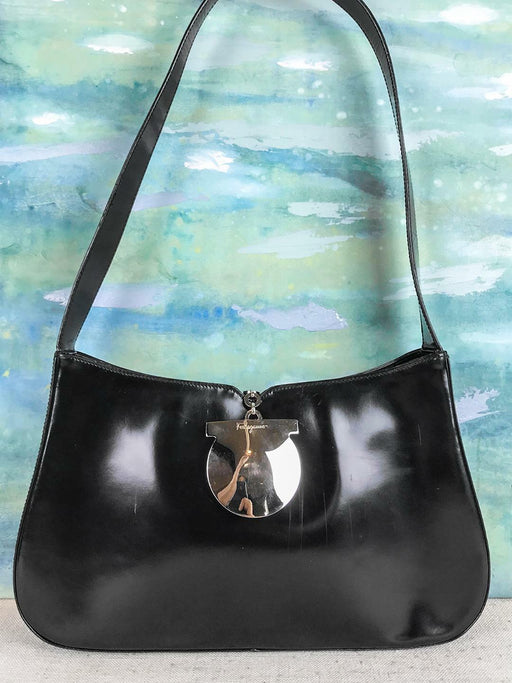 $950 SALVATORE FERRAGAMO Gancini Black Patent Leather Hobo Shoulder Bag Vintage