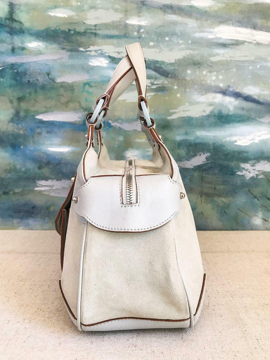 $350 SALVATORE FERRAGAMO Light Blue Suede Gancini Leather Satchel Shoulder Bag