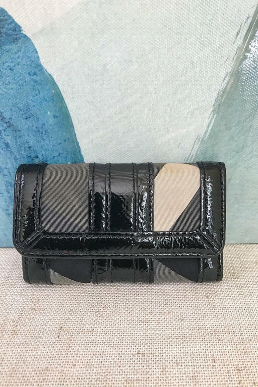 BURBERRY Black Gray Beat Check Black PVC Patent Leather Key Case Wallet SALE!
