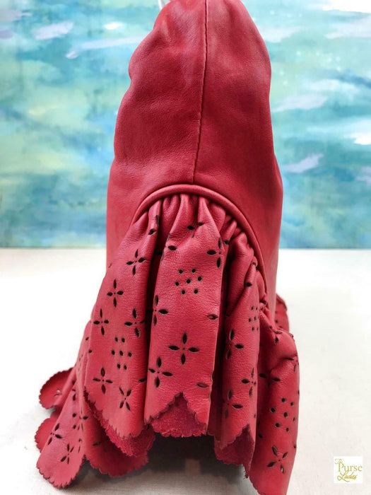 $1950 CHRISTIAN DIOR Gypsy Red Leather Perforated Floral Ruffle Hobo Bag SALE!