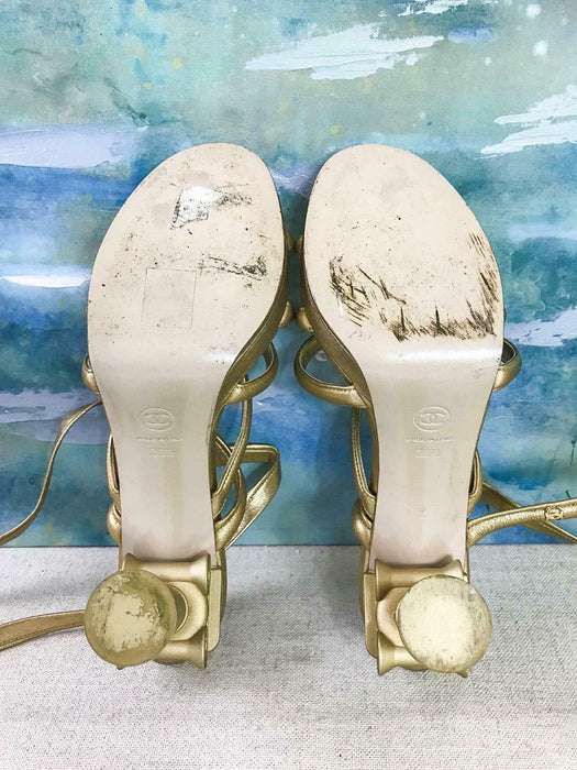 $1400 CHANEL Column Gold Leather Heels Sandals Gladiator Women's Size 39.5 SALE!