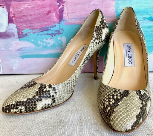 JIMMY CHOO Cream Gray Python Leather Pumps Slip On Slim Heels Sz 38.5 On SALE