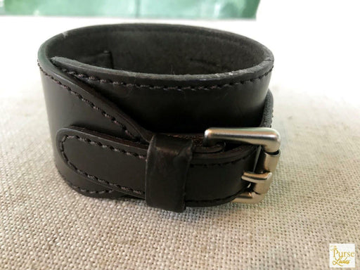 $480 LOUIS VUITTON Glace Brown Monogram Leather Buckle Cuff Bracelet Womens SALE