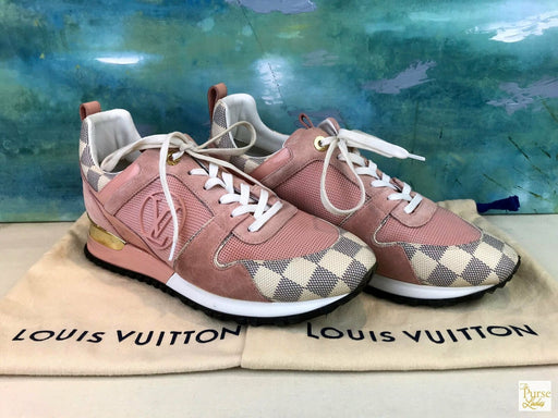$855 LOUIS VUITTON Run Away Damier Azur Check Canvas Suede Sneakers SZ 39.5 SALE