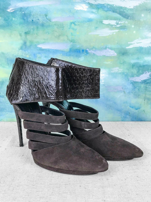 $1595 BALENCIAGA Brown Patent Leather Suede Ankle Booties Women's SZ 37.5 SALE!
