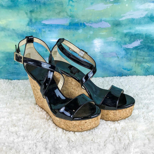 $525 JIMMY CHOO Portia Black Patent Leather Ankle Strap Cork Wedges SZ 41 SALE!