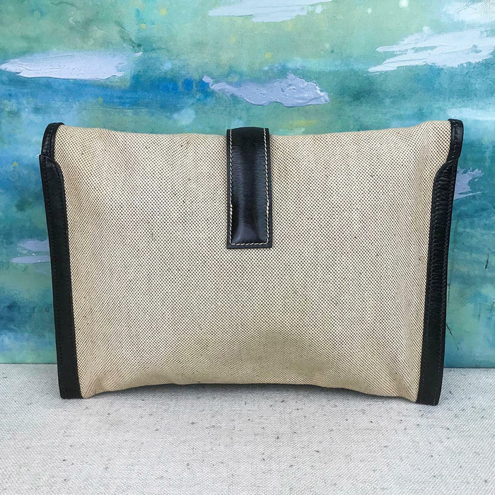 HERMES Jige Courchevel PM Beige Toile Canvas Envelope H Clutch Evening Bag SALE!