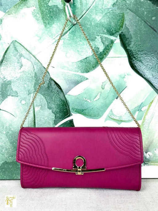 $900 SALVATORE FERRAGAMO Magenta Pink Leather Mini Icona Gold Shoulder Bag SALE