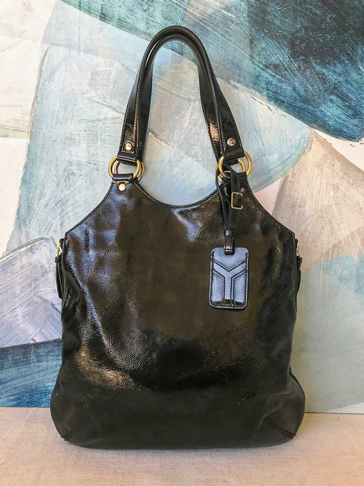 19edc30e8aa $965 YSL YVES SAINT LAURENT Black Patent Leather Tribute Tote Bag Gold HW  SALE!