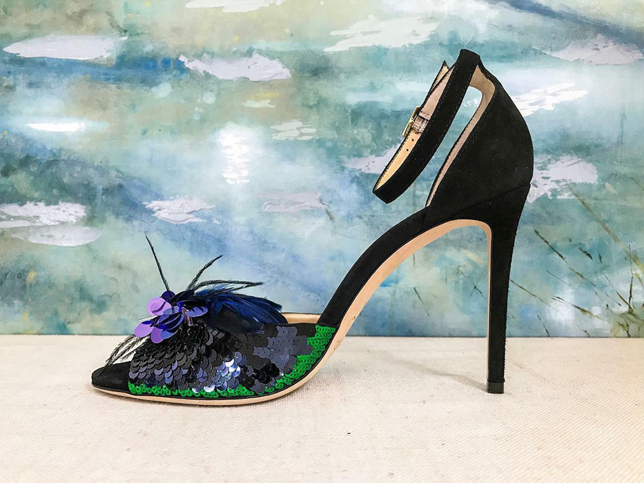 $1595 JIMMY CHOO Black Suede Sequin & Feather Annie Anouk Stiletto Heels NEW!