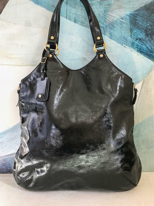 $965 YSL YVES SAINT LAURENT Navy Patent Leather Tribute Tote Bag Gold HW SALE!