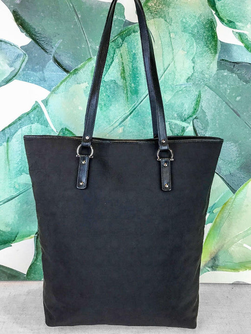 $795 SALVATORE FERRAGAMO Black Monogram Canvas Tote