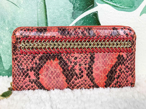$395 STELLA MCCARTNEY Red Orange Faux Snakeskin Continental Wallet Chain SALE!