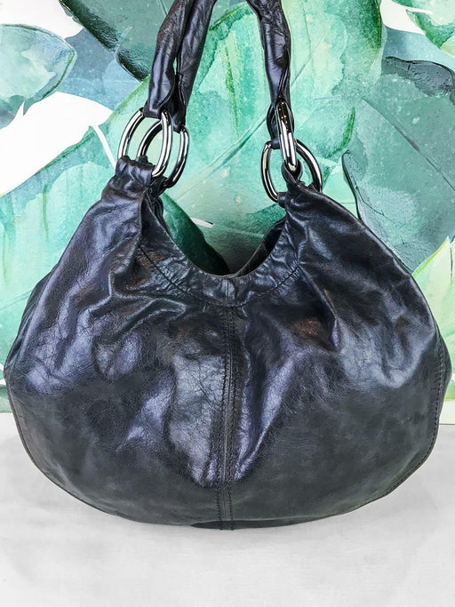 MIU MIU Gray Glazed Leather Hobo