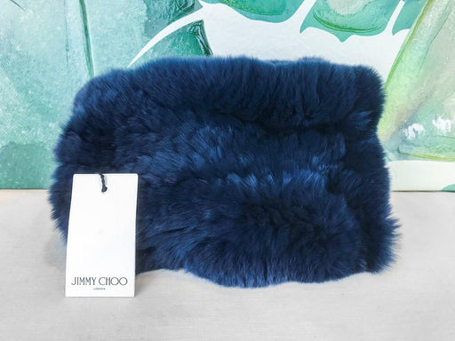$225 JIMMY CHOO Navy Blue Plush 100% Rabbit Fur Neck Warmer Collar Buckle SALE!