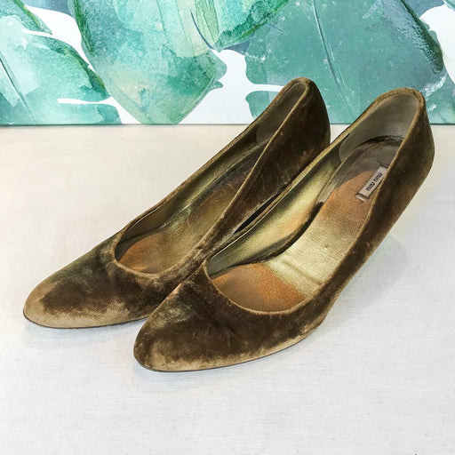 $595 MIU MIU Brown Velvet Pointed Toe Wedges Heels SZ 37.5 Women's Shoes SALE!