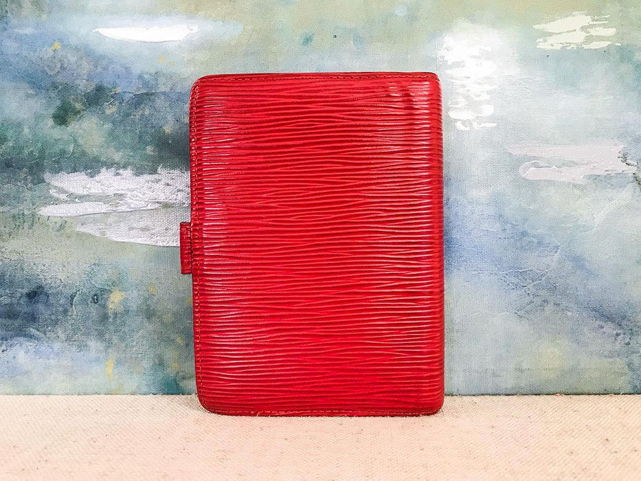 $500 LOUIS VUITTON Red Epi Leather Agenda Pad Day Planner Cover Snap Gold HW EUC