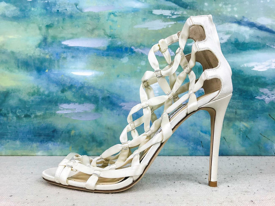 $895 JIMMY CHOO Violet 100 Ivory Satin Caged Strappy Heels Sandals SZ 39.5 NEW!