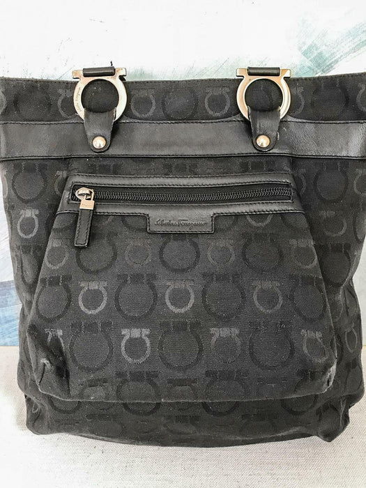 $875 SALVATORE FERRAGAMO Black Canvas Shoulder Bag Gancini Tote Leather Trim Bag