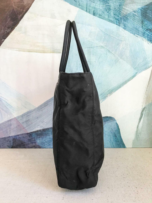$700 PRADA Black Tote Nylon Shoulder Bag Side Logo Double Strap Zipper Medium