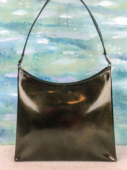 $630 SALVATORE FERRAGAMO Green Metallic Patent Leather Shoulder Bag Women's SALE