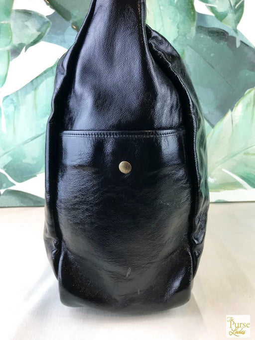 $1250 YVES SAINT LAURENT Black Patent Leather Hobo Shoulder Bag Zipper SALE! EUC