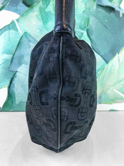 $995 GUCCI Black Horsebit Printed Jacquard Logo Buckle Hobo Bag Purse Zip SALE!