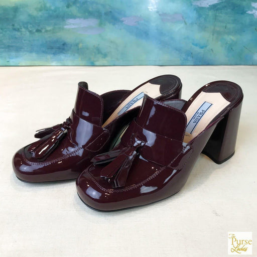 $750 PRADA Vernice Granato Maroon Patent Leather Slip On Loafer Mules SZ 36.5