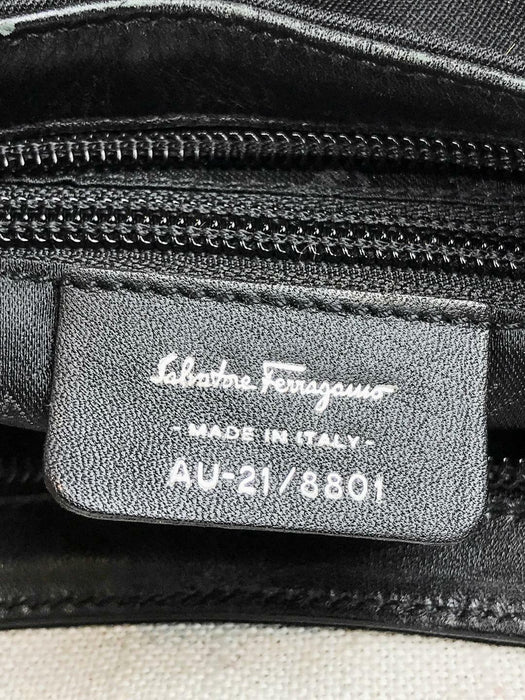 $740 SALVATORE FERRAGAMO Black Neoprene Logo Lucite Strap Shoulder Bag SALE!
