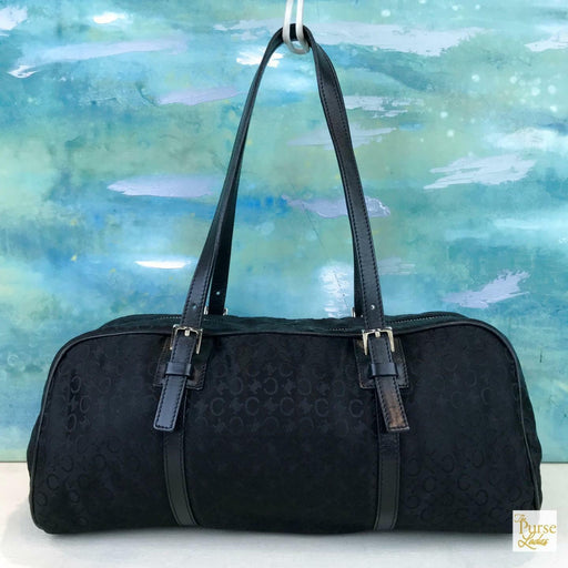 CELINE Black Macadam Satin Satchel Shoulder Bag Leather Trim Zipper Silver SALE!