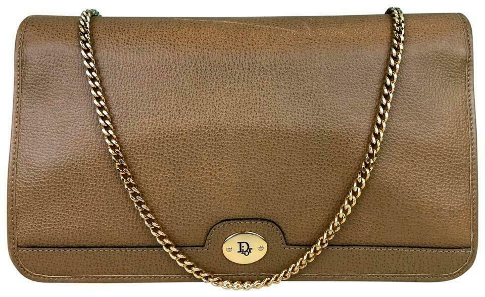 $695 CHRISTIAN DIOR Brown Grained Leather Chain Flap Shoulder Bag Purse SALE!