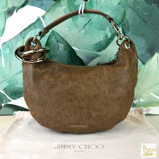 $1200 JIMMY CHOO Solar Brown Leather Bracelet Hobo Shoulder Bag Gold HW SALE!